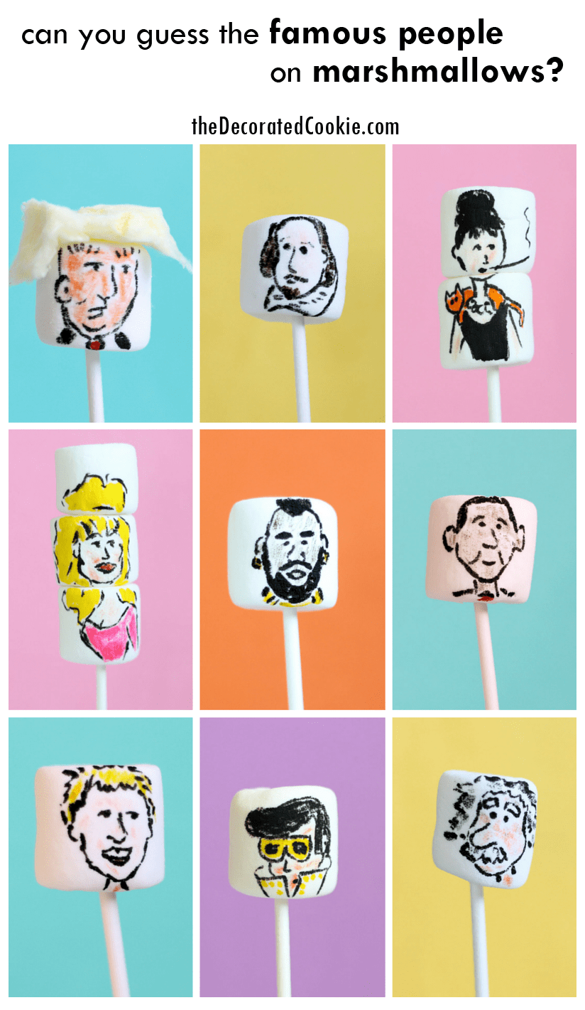 marshmallow art: famous people on marshmallows, can you name the celebrities? Answers at theDecoratedCookie.com