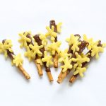 Forsythia branch spring chocolate covered pretzels
