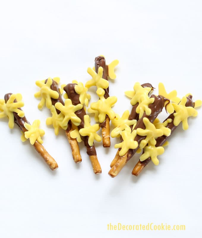 Forsythia branch chocolate-covered pretzels