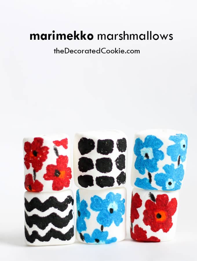 Marimekko marshmallows by theDecoratedCookie.com