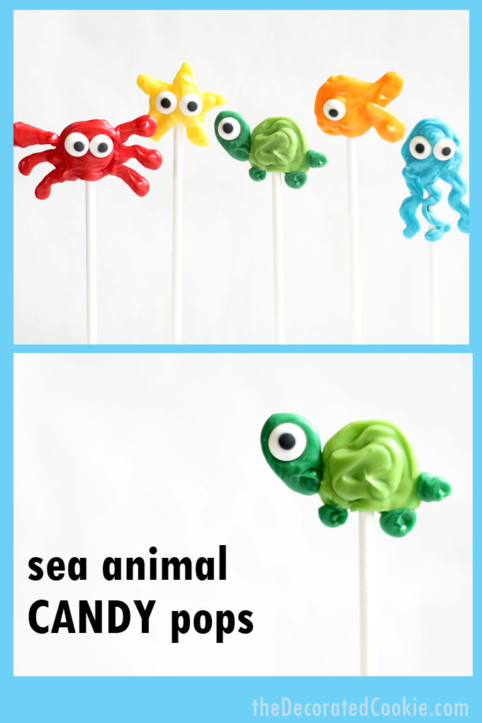 How to make sea animal candy pops, chocolate sea creatures for a summer party or BBQ dessert idea.  #SummerParty #SeaAnimals #ChocolatePops #Candy