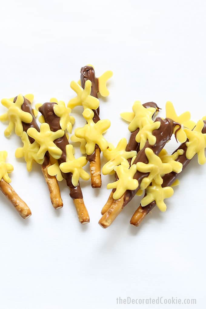 SPRING CHOCOLATE COVERED PRETZELS. these Forsythia branch chocolate covered pretzels are a cute, fun treat for spring or Mother's Day.