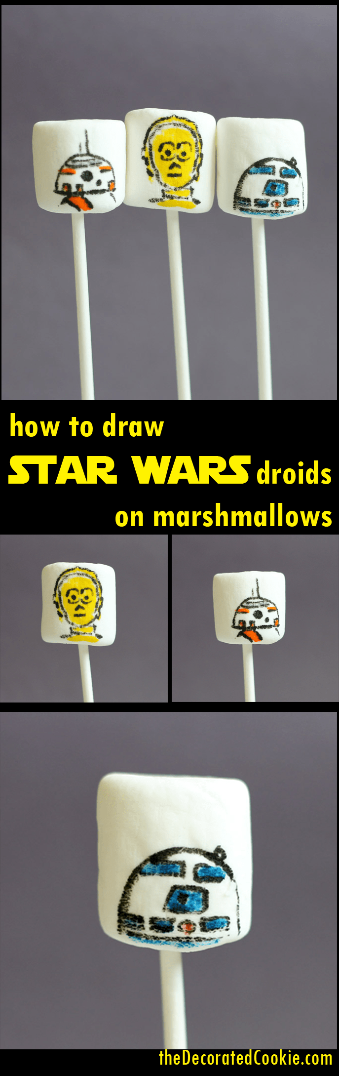 how to draw Star Wars droids on marshmallows