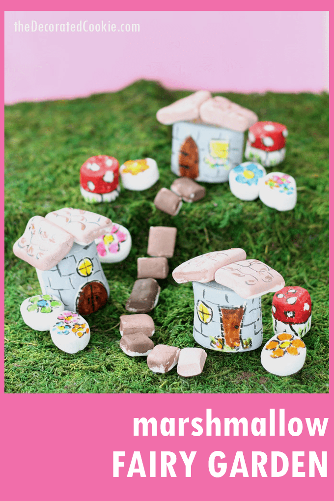 This marshmallow fairy garden is made with food coloring, marshmallows, and food coloring pens. A cute fun food craft for kids or adults. #marshmallow #fairygarden