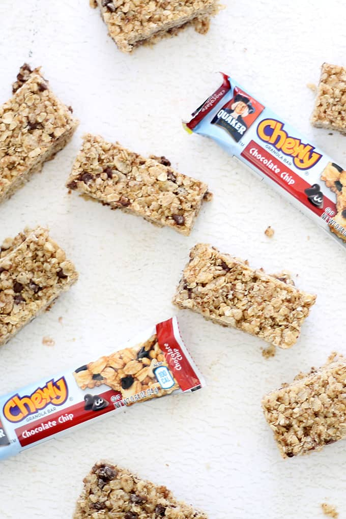 CHOCOLATE CHIP GRANOLA BARS RECIPES -- This copycat version of Quaker chew chocolate chip granola bars is healthier and delicious.