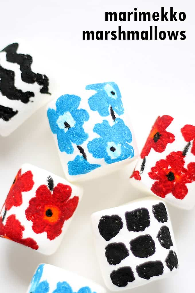 MARIMEKKO MARSHMALLOWS --How to draw the classic artist's designs on marshmallows using food coloring pens. Bright, bold treat idea.