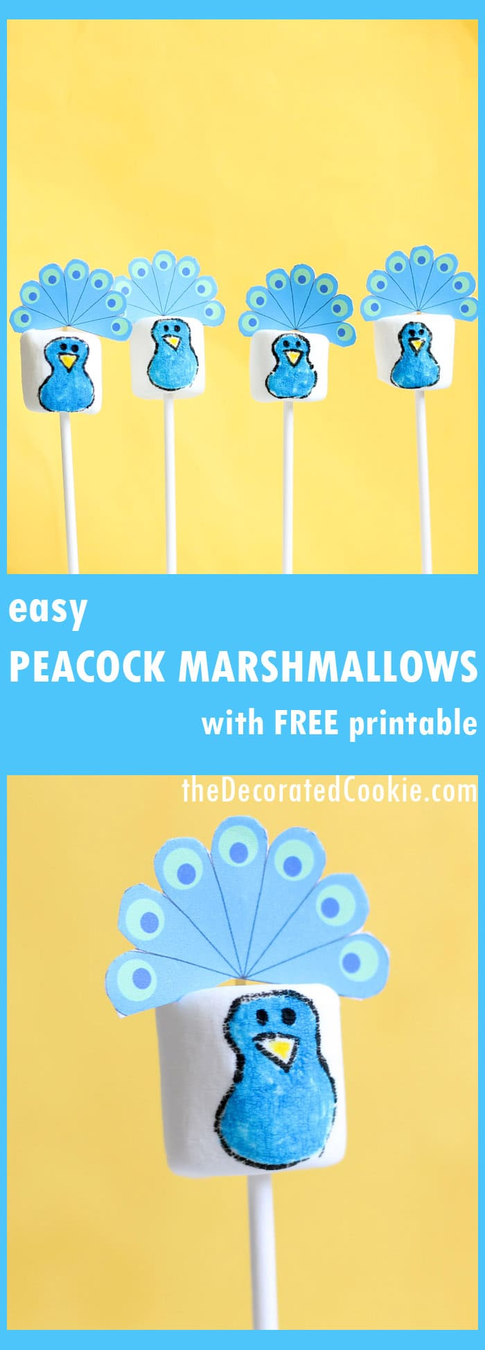 peacock marshmallows with free printable