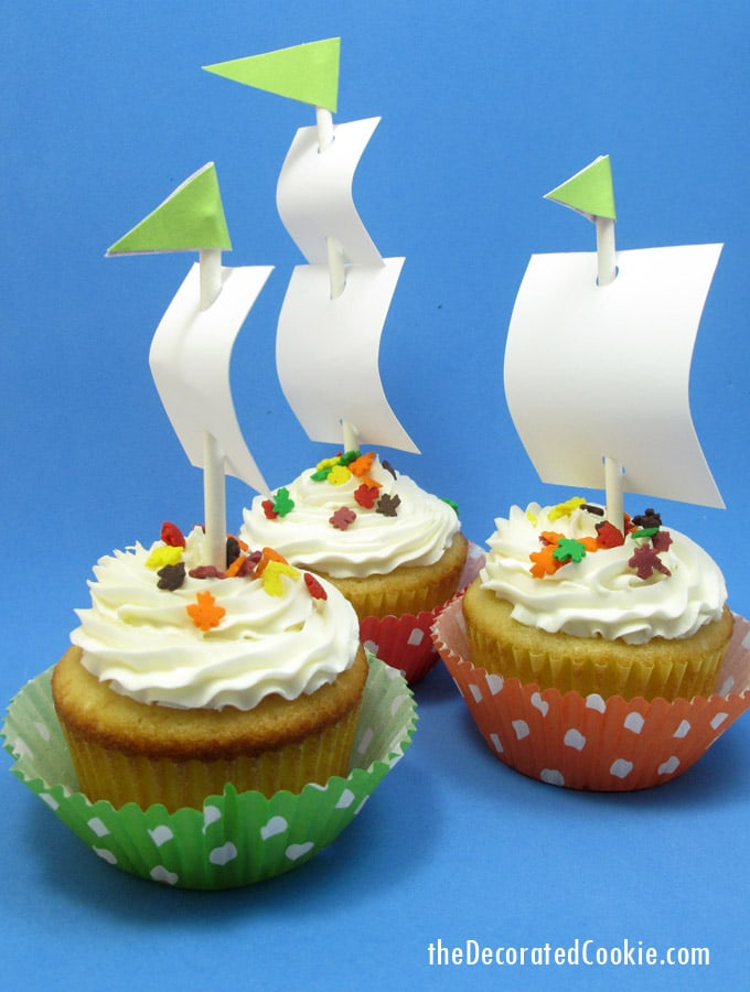 These Mayflower cupcakes are easy to put together for a fun food idea this Thanksgiving. You can even use store-bought cupcakes for a time-saver.