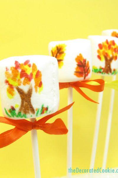 Fall Marshmallow Pops for Thanksgiving dessert
