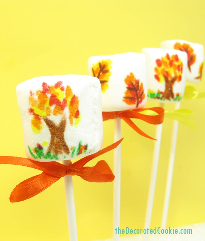 Fall Marshmallow Pops for Thanksgiving dessert