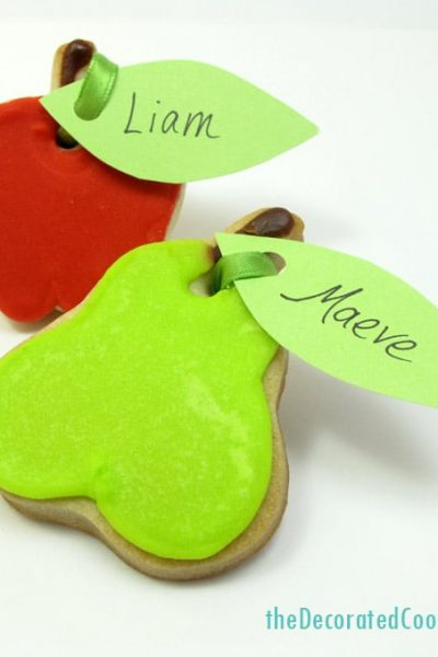 Fall harvest fruit Thanksgiving cookie placecards