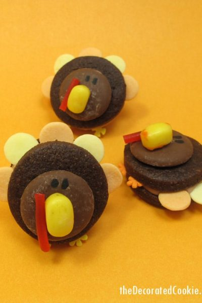 mini turkey cookies for Thanksgiving