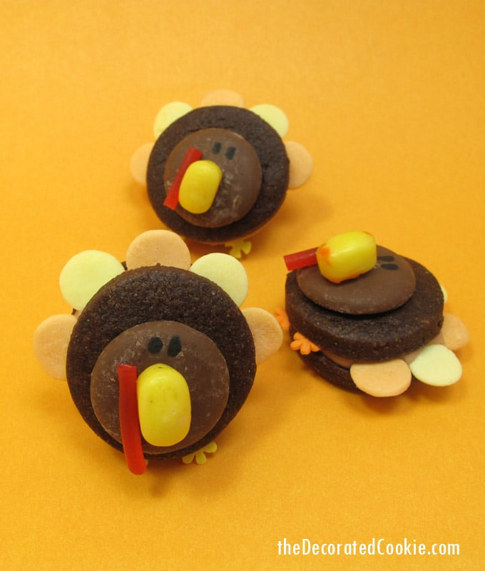 These mini turkey cookies are much simpler to assemble than decorated cookies, but just as cute! A cute little Thanksgiving day treat.