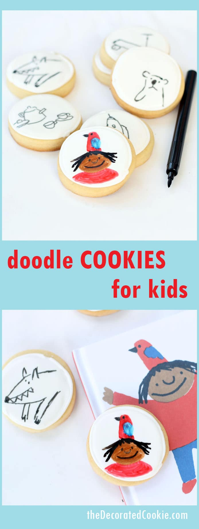 doodle cookies for The Girl with the Parrot on her Head