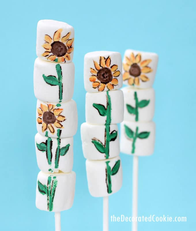 how to paint on marshmallows - sunflower marshmallows