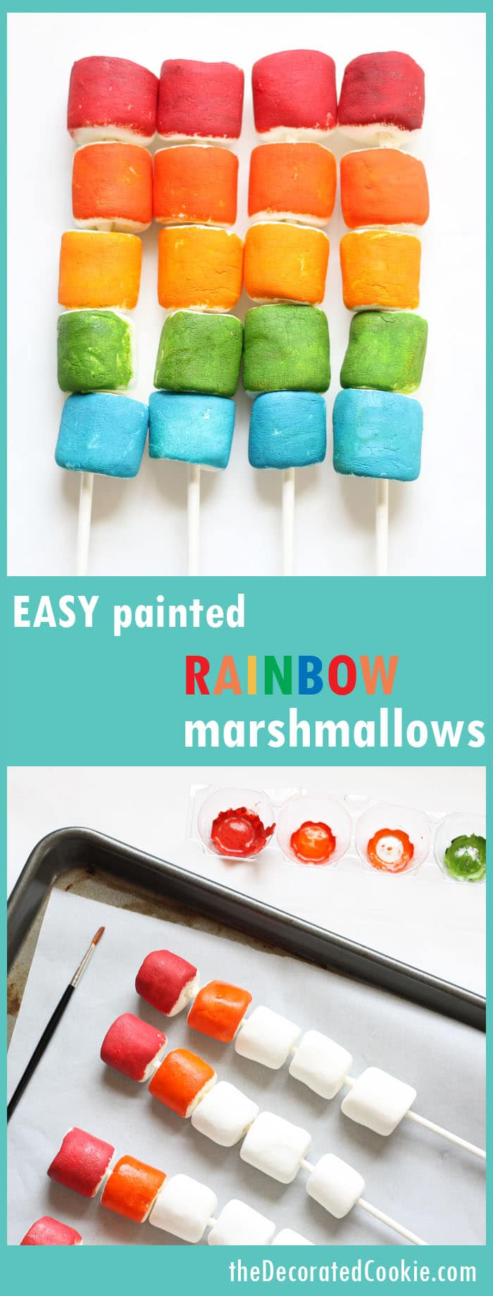 EASY painted rainbow marshmallows on a stick