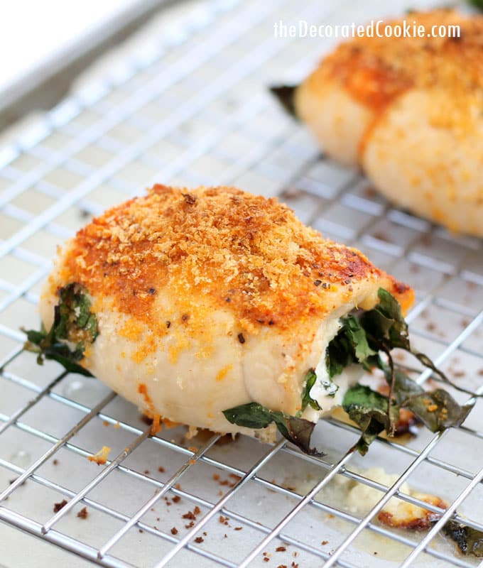easy dinner: spinach and goat cheese stuffed chicken