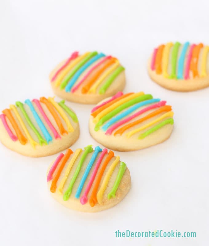 easy striped rainbow cookies - The Decorated Cookie