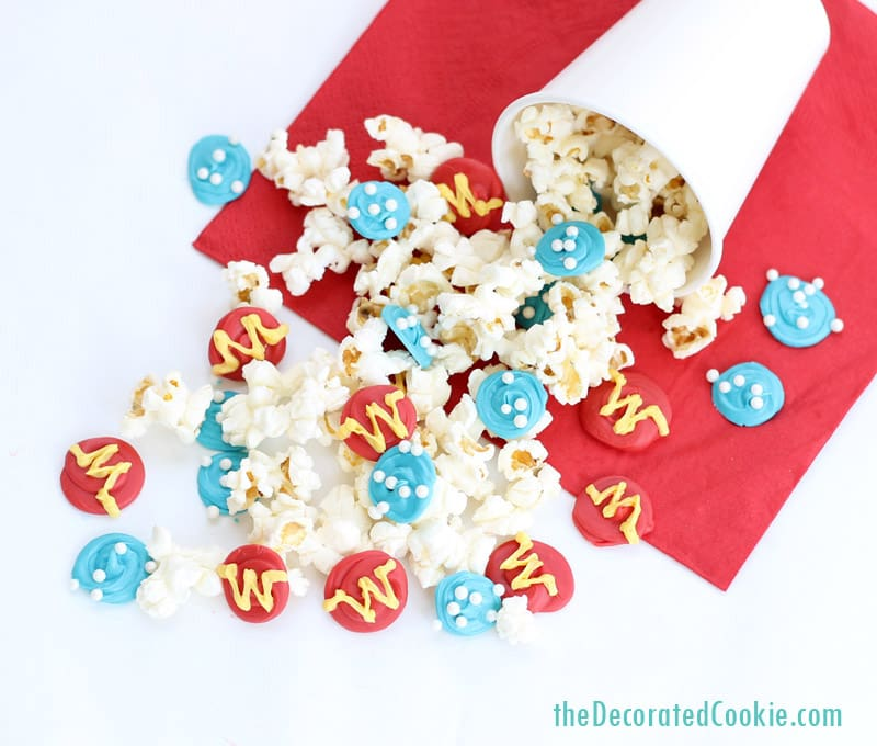 Wonder Woman popcorn -- Superhero party food ideas