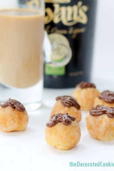 booze-filled donut holes - Irish Cream liquor filled donut holes for brunch