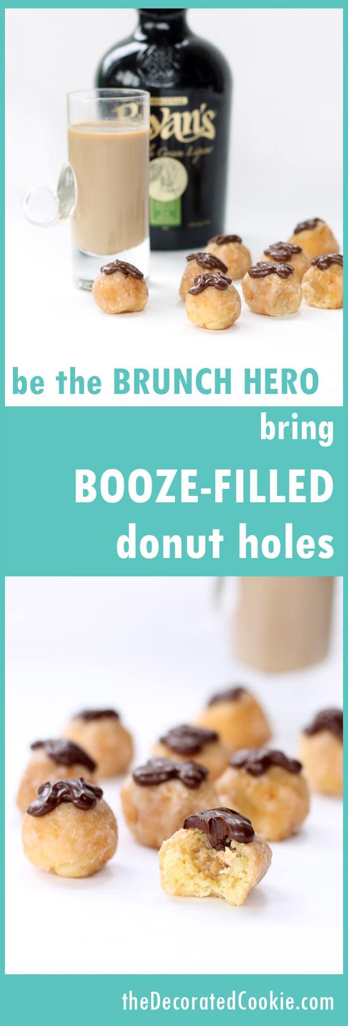 booze-filled donut holes - Irish Cream liquor filled donut holes for brunch