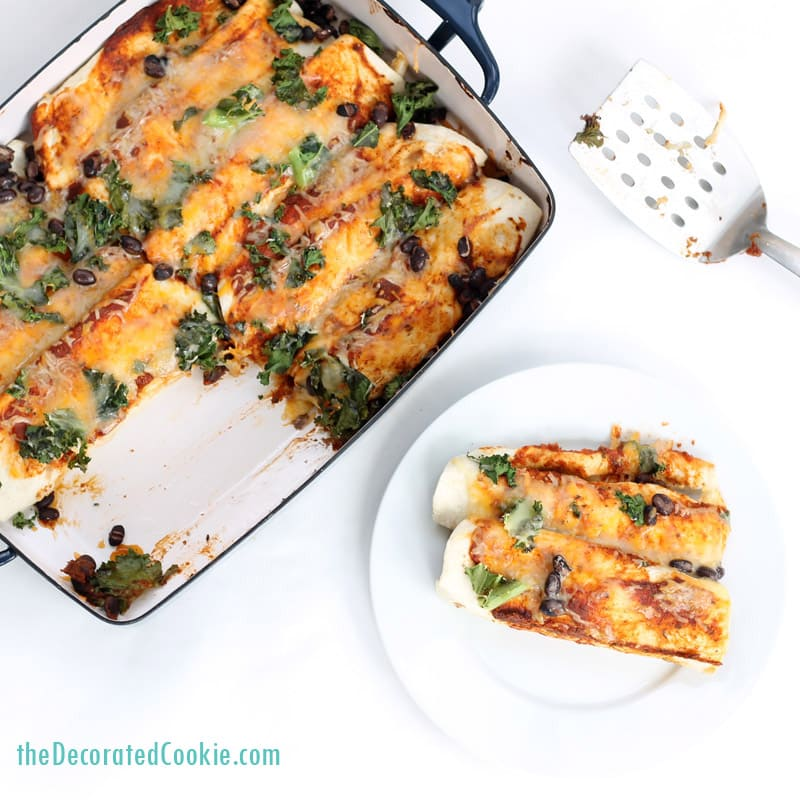 easy chicken and kale enchiladas with black beans, made with 1-minute enchilada sauce