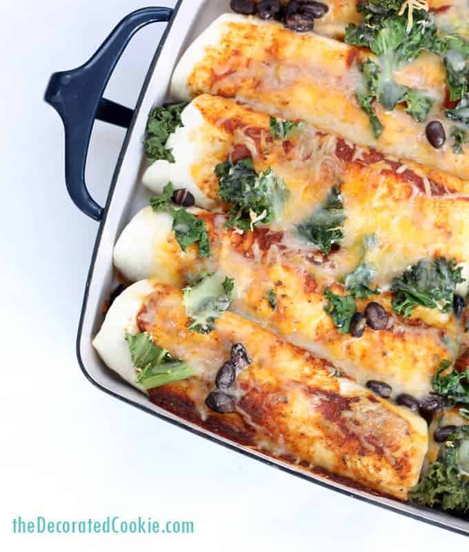 ow to make enchiladas: easy chicken and kale enchiladas with black beans, made with 1-minute enchilada sauce