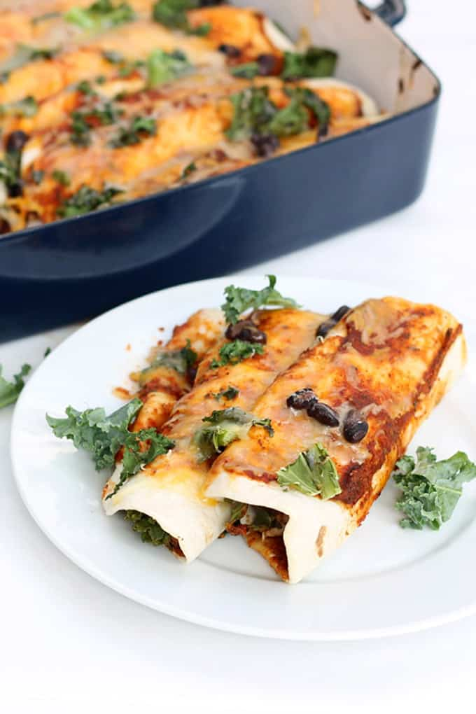 how to make enchiladas: Chicken and kale enchiladas for an easy, week-night dinner using rotisserie chicken and quick, homemade enchilada sauce.