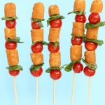mozzarella stick caprese skewers - tomato, basil and Farm Rich mozzarella sticks