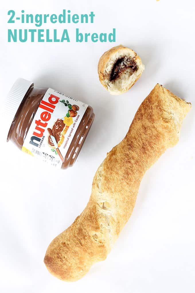 2-ingredient NUTELLA BREAD! Delicious breakfast idea using refrigerated French bread loaf and Nutella, baked to perfection.