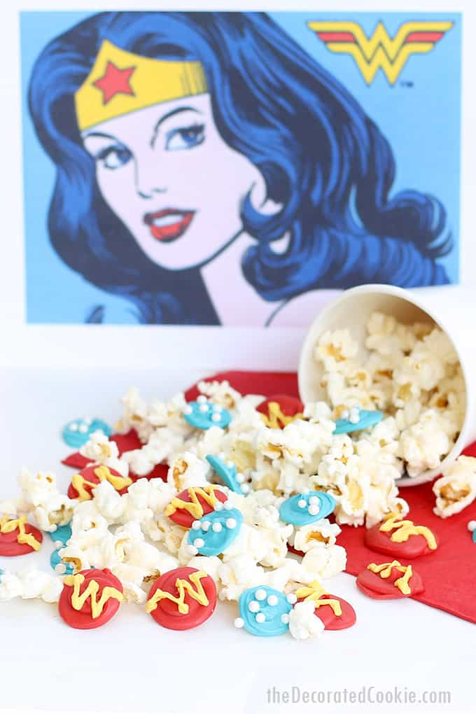 WONDER WOMAN POPCORN -- This sweet and salty snack is a fun food idea for a Wonder Woman party, movie snack, or a Superhero party.