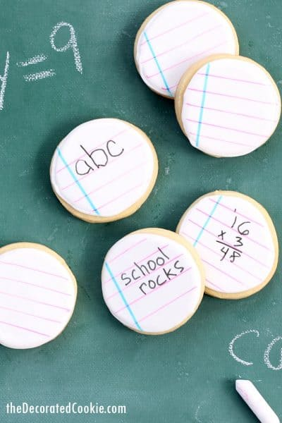 BACK TO school notebook decorated cookies