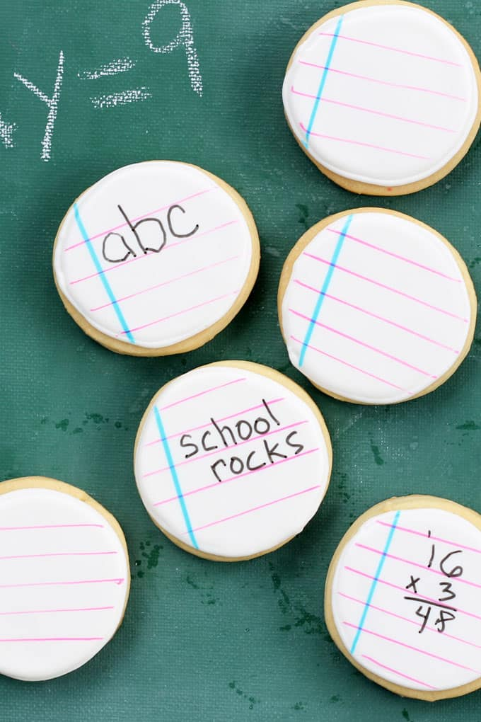 BACK TO SCHOOL cookies: Notebook cookies kids can actually write on with food pens. #kids #cookies #notebooks #backtoschool #cookiedecorating