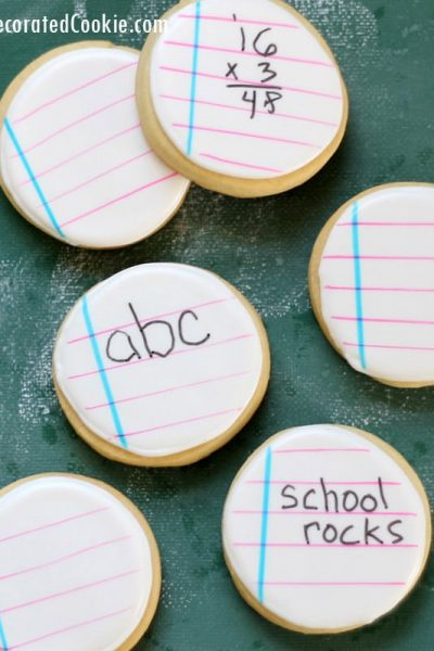 back to school notebook cookies kids can write on themselves