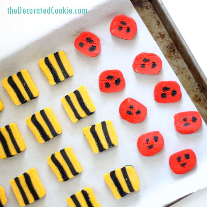 ladybug and bumble bee slice and bake cookies