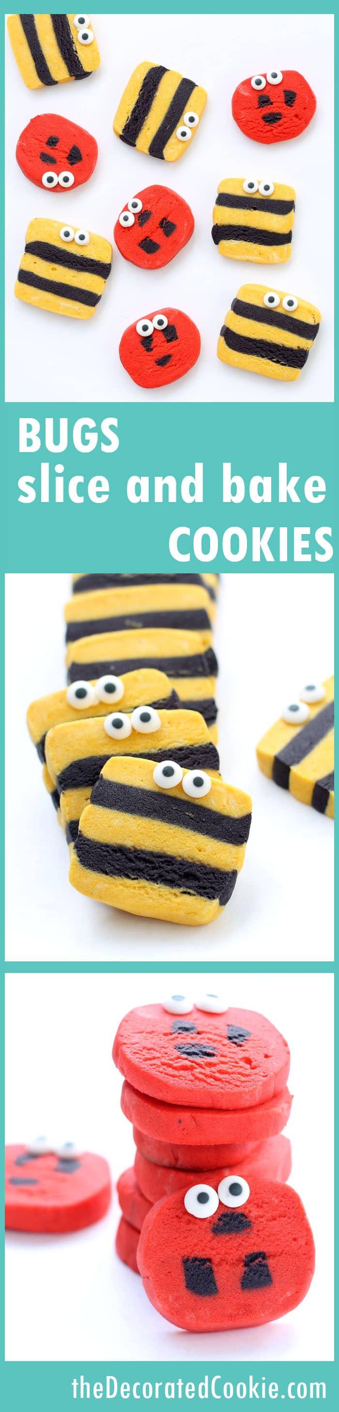 ladybug and bumble bee slice and bake cookies