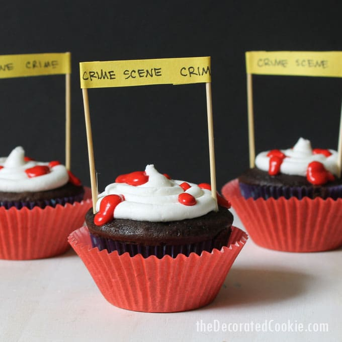 crime scene cupcakes for Halloween