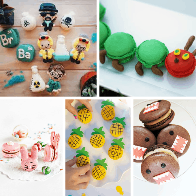 A roundup of 38 CUTE MACARONS from around the web and fun food ideas using macarons. How to decorate and bake clever macarons.