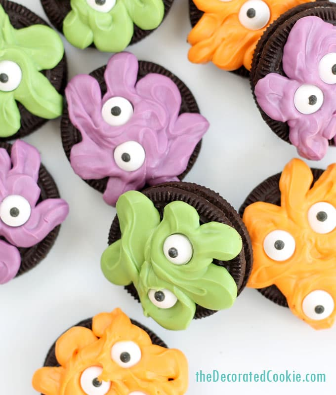 monster Oreo cookies for Halloween by theDecoratedCookie.com