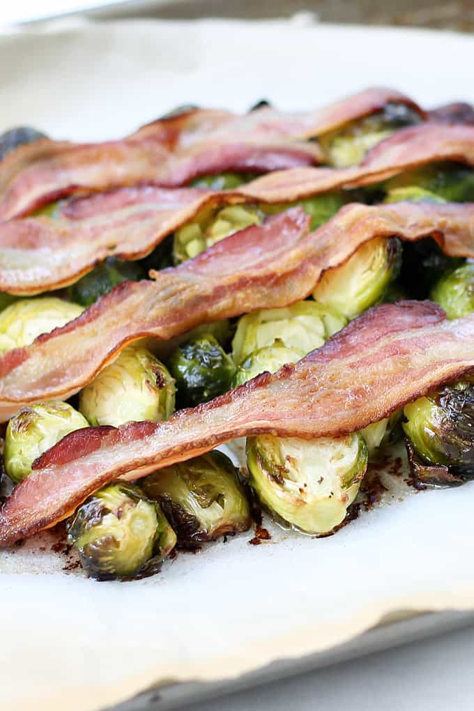 ROASTED BRUSSELS SPROUTS AND BACON -- easy roasted vegetable side dish to serve with dinner or as meal.