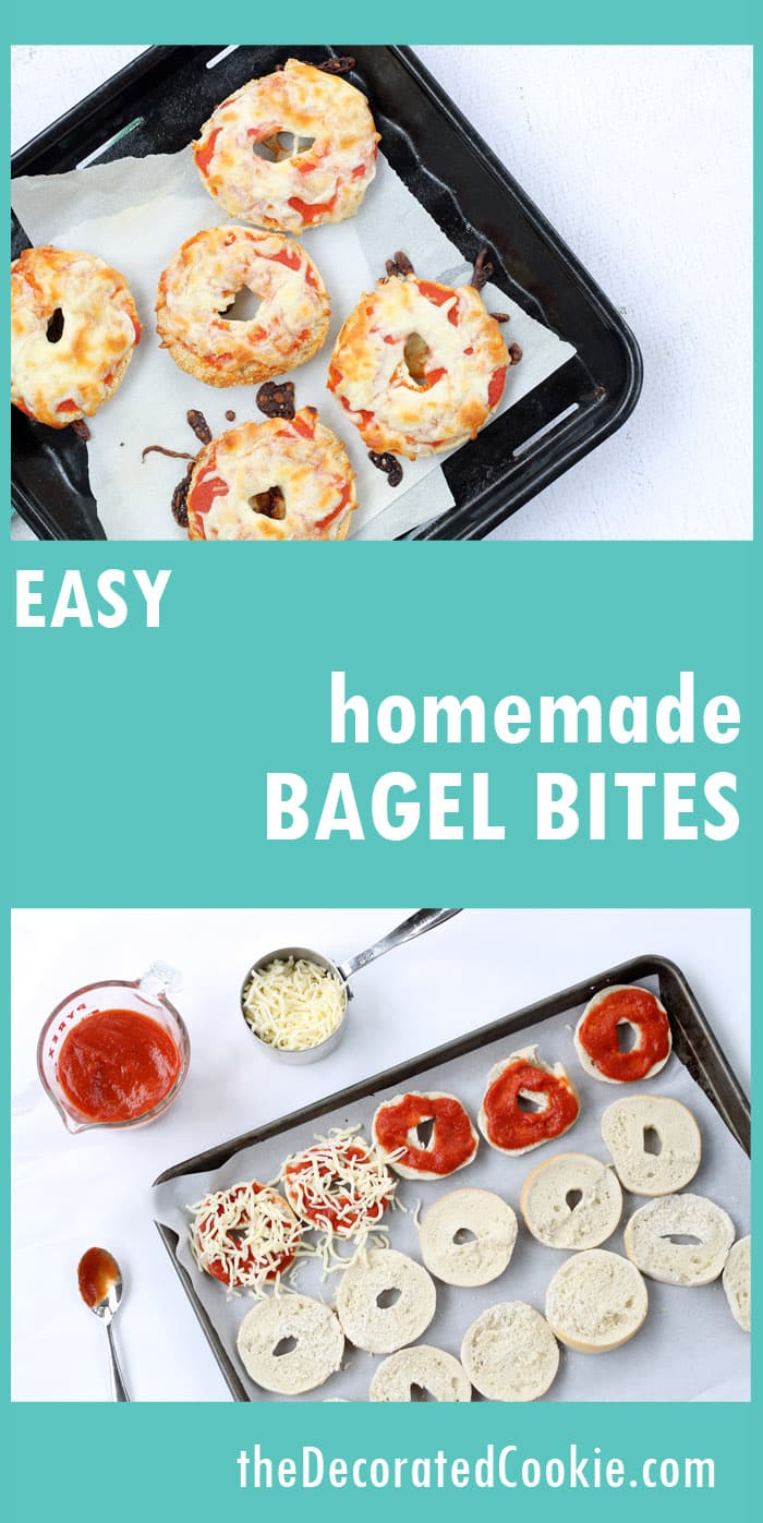homemade bagel bites - EASY after school snack, ready in minutes