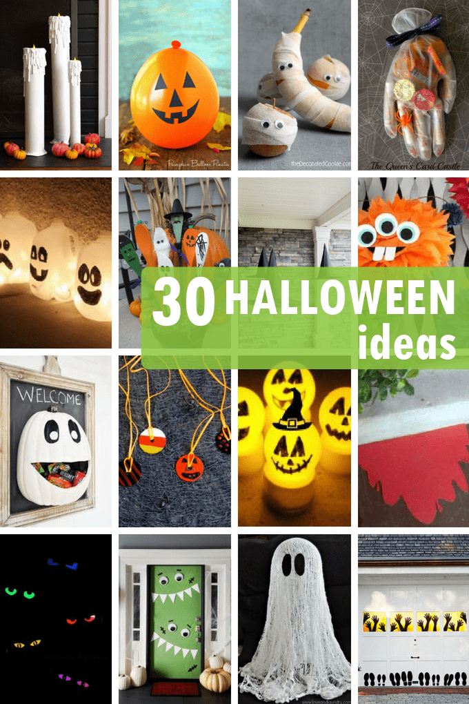 Halloween ideas roundup -- 30 ideas for Halloween decor, Halloween parties, or kid-friendly Halloween crafts. Fun Halloween DIY ideas.