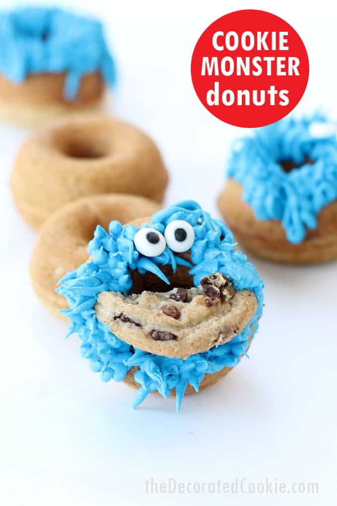 EASY Sesame Street party idea: How to make Cookie Monster donuts in the Babycakes Donut Maker #CookieMonster #Donuts #DonutMaker #SesameStreet