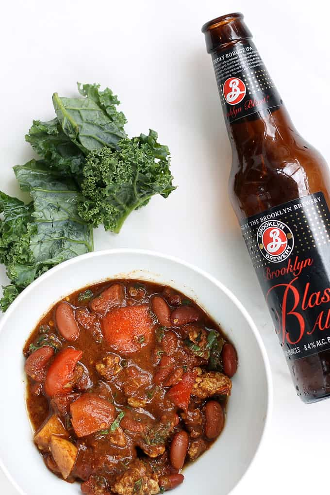 EASY DINNER idea: Crock pot turkey chili with beer and kale, great for game day! Filled with delicious spices, ale, and vegetables.
