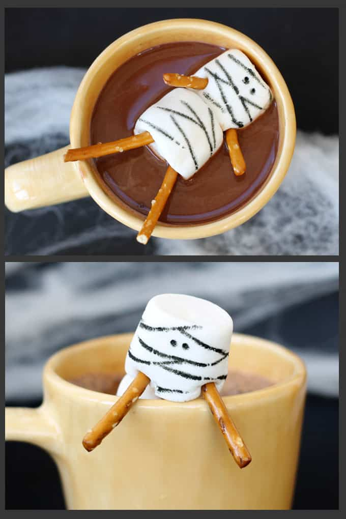 Fun Halloween party food idea: Use food writers to make mummy marshmallows for Halloween hot cocoa -- Halloween hot chocolate
