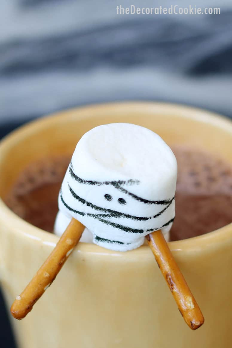 mummy marshmallows in hot chocolate