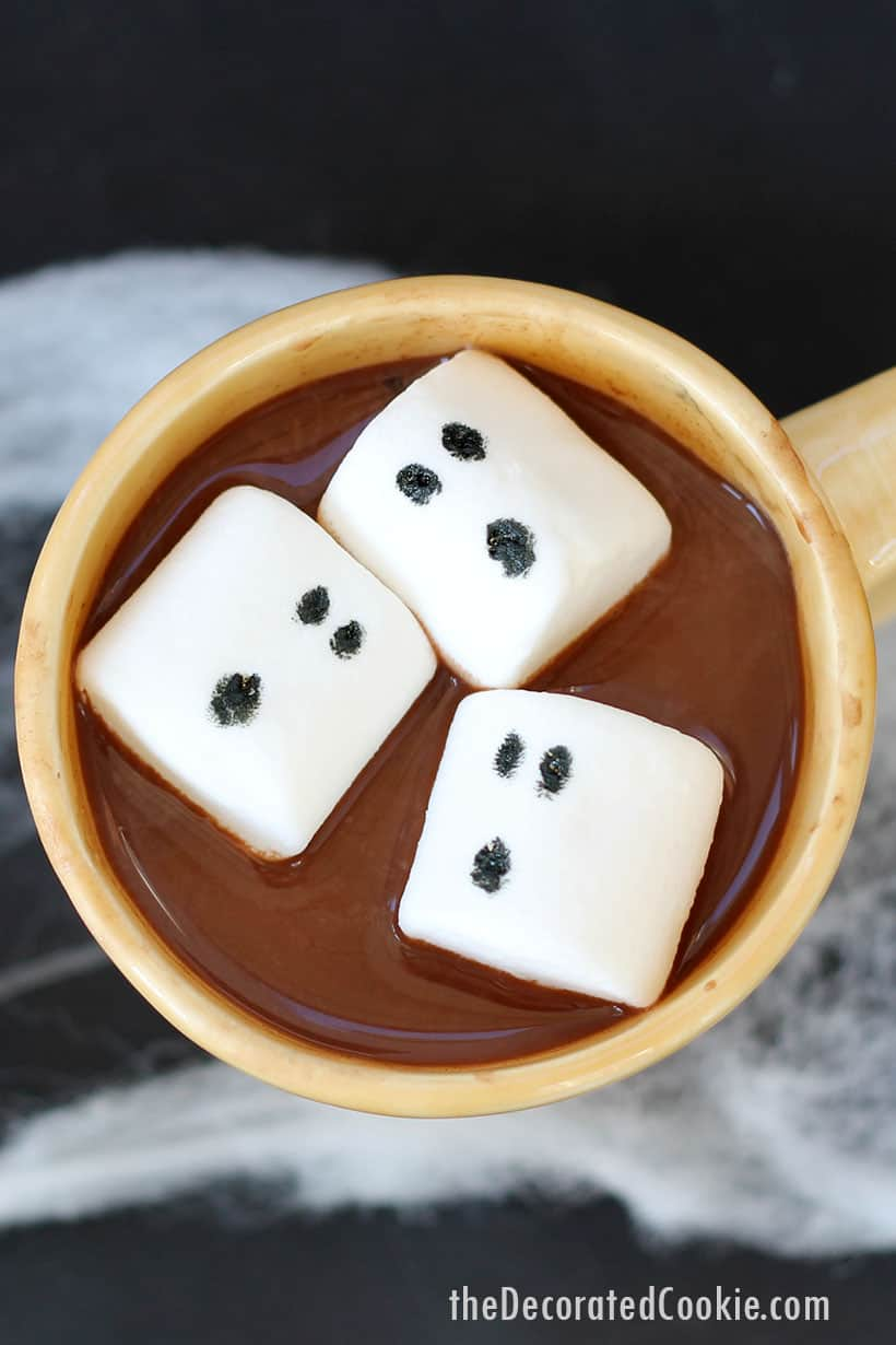 ghost marhsmallows in hot chocolate