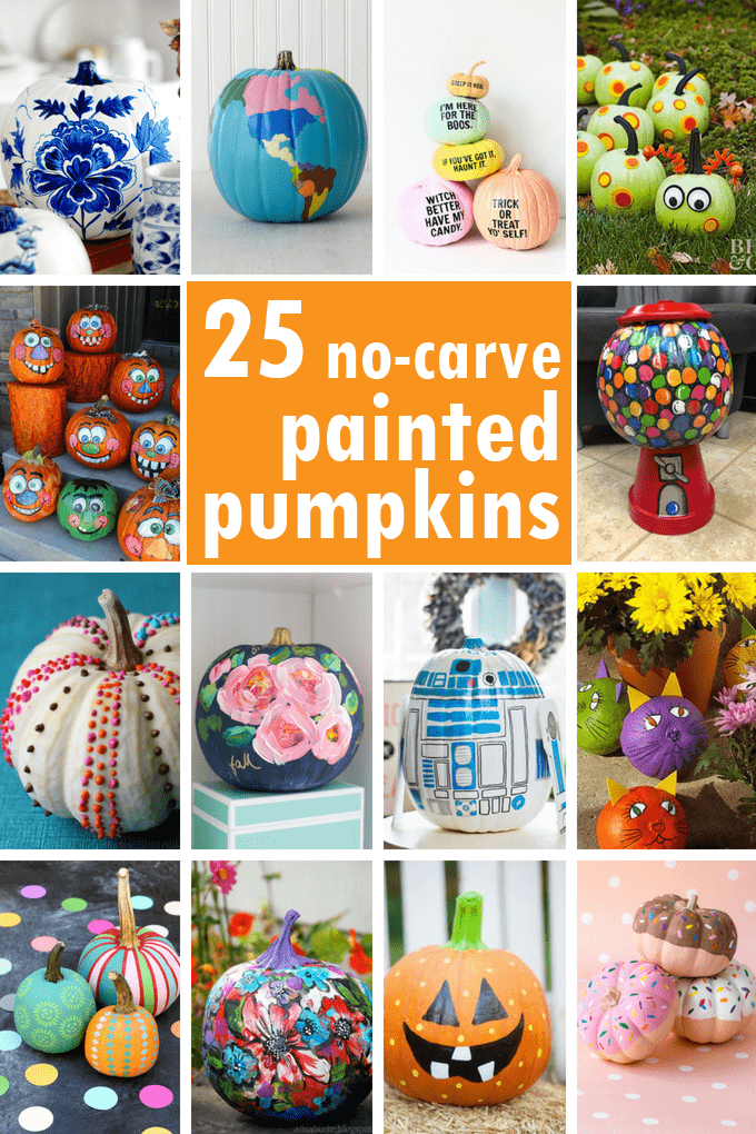 Painted pumpkins: A roundup of 25 no-carve, painted pumpkins. Pumpkin painting ideas to decorate Halloween pumpkins for your front porch or parties.