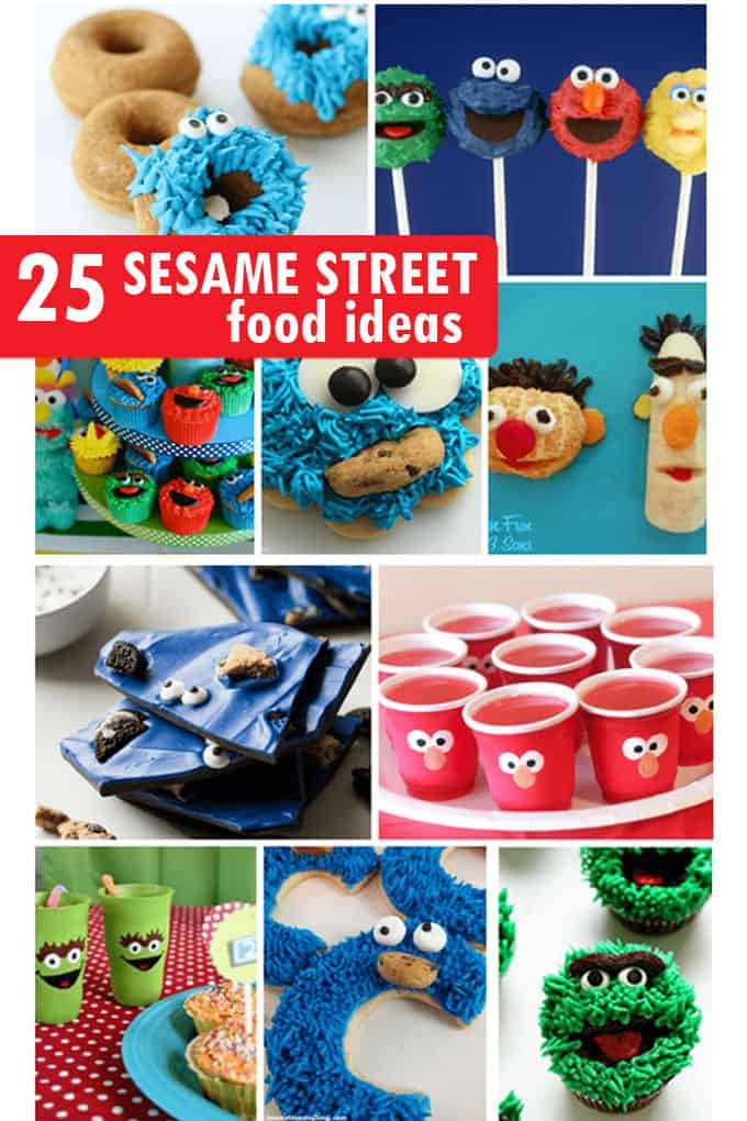 Roundup of Sesame Street food ideas for your kid's party. Fun food ideas with Cookie Monster, Big Bird, Elmo, Oscar and more.