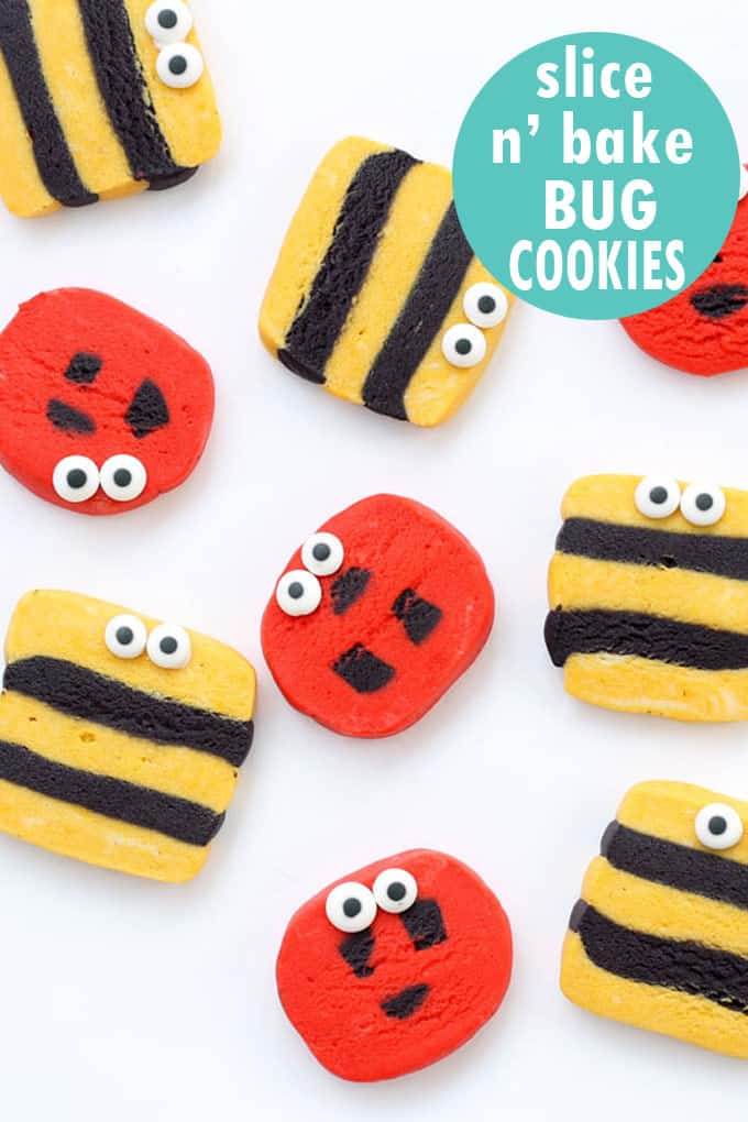 How to make slice and bake bug cookies! Ladybugs and bumble bees. #SliceandBake #cookies #bugs